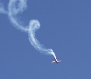 Smoke trail from air acrobatics